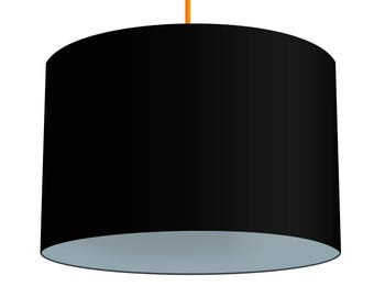 Black Linen Fabric Drum Lampshade With Contrasting Iron Grey Cotton Lining, Small Lampshade 20cm - Large Lampshade 40cm or Custom Size