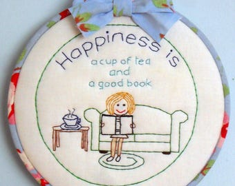 "Handmade Embroidered Art - ""Time for Tea"""