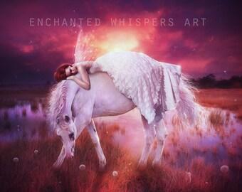 fantasy fairy and horse art print