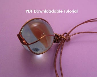 PDF Wire Wrapped Marble Pendant Tutorial, Beginner Wirework Tutorial, UK