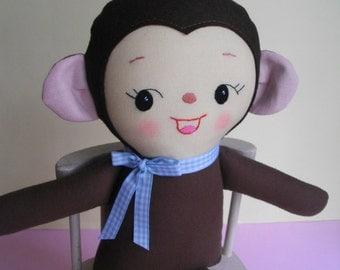 MONKEY PLUSHIE - Kawaii handmade plush toy softie baby toy - Made to Order