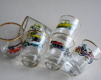 Decorative 6 Vintage Shot Glasses with Pictures of Old Cars