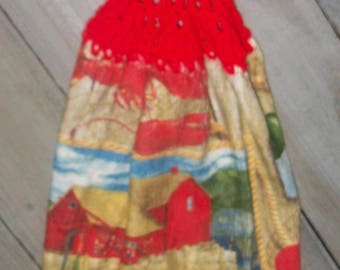 Red Crochet Top Kitchen Hanging Lobsters Shed Pier Bouys Rope Oven Cabinet Dishtowel *No Button/Button*Handmade Design by HCF&D RTS