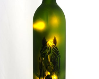 Lighted Wine Bottle: Horse Detailing - Wine - Wine Gifts - Dine Decor - Horses - Wine Bottle Lights  - Recycled Wine Bottle - Lamp