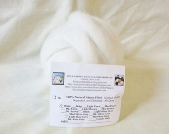 2 oz. 100% Natural White Carded Alpaca Roving For Spinning, Nuno Felting or Needlefelting