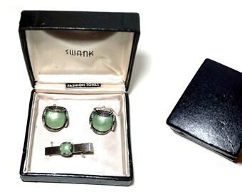 SWANK Cufflinks & Tie Clip Set,Green and SilverTone Vintage Tie Bar,Vintage Cufflinks,50s 60s Mens Jewelry,Vintage Swank Jewelry,Formal Wear