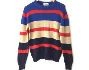 Vintage 80s Sears Roebuck & Co Striped Chunky Knit Sweater