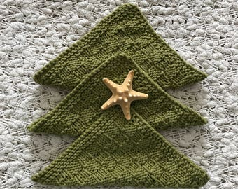 Face cloths - hand knit dish cloths - spa cloths - olive green color dish cloths - womens face cloths - wash cloths - house warming gift