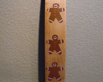 Gingerbread Men on Wine Barrel Staves, Hand Painted, Winter Decor, Home Decor, Holiday Decor, Christmas Decoration, Wooden Wall Art