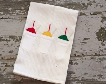 Snoball Hand Towel, Snowball Waffle Weave Hand Towel, Appliquéd Hand Towel, Summer Hand Towel