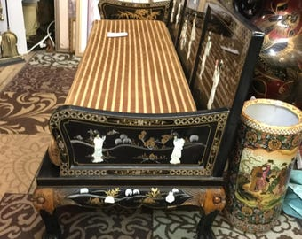 Asian mother of pearl hand painted and hand carved black lacquer Lohan  couch