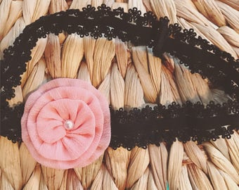 Black stretchy lace headband with peach Flower