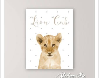 Lion Print Nursery Art on CANVAS Baby Animals Lion Baby Nursery Decor Nursery Wall Art Safari Decor Kids Room Animal Picture