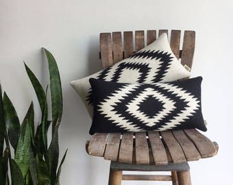 Geometric Wool Pillow // Rancho Black + Cream with black backing
