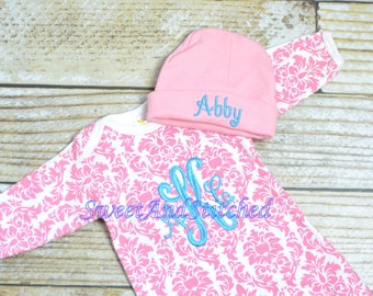Personalized pink damask monogrammed newborn gown, baby girl take home outfit in pink and turquoise, newborn hat, monogram baby girl outfit