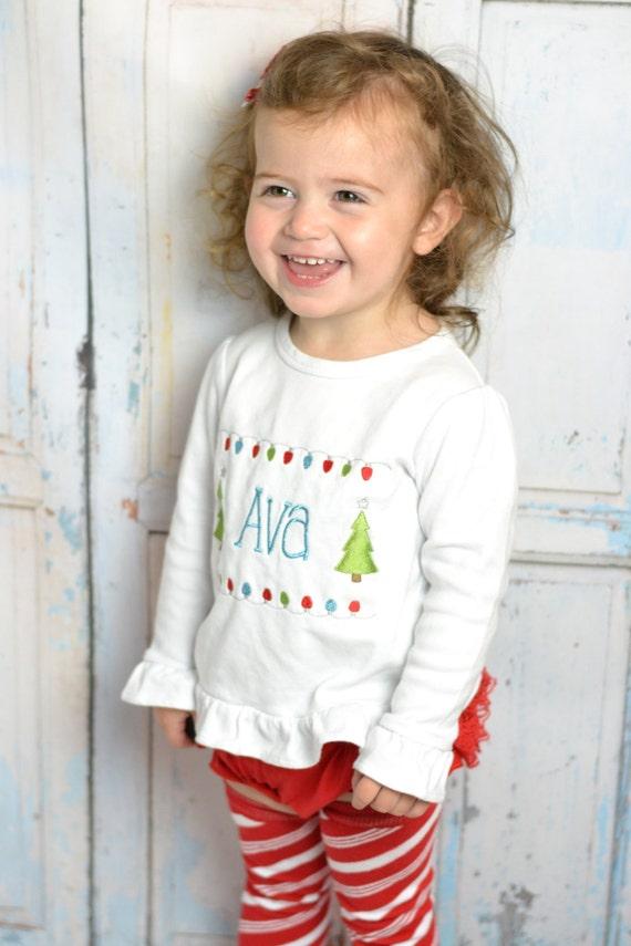 Baby girl Christmas outfit tutu PERSONALIZED! Girls Christmas Tree Shirt, Baby girl christmas outfit, Christmas tutu. candy cane leg warmer