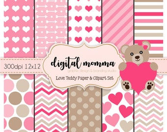 Valentine, Love Teddy Digital Paper & Clipart Set, Instant Download!