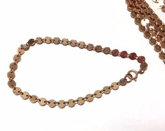 14K Gold-Filled Coin Bracelet - Circle Disc Chain - Rose Gold or Yellow Gold - Coin Bracelet or Necklace