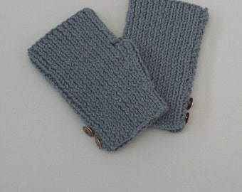 Grey Texting Mitts with Button Decoration Fingerless Gloves Adult Size Wool Mitts Ready to Ship