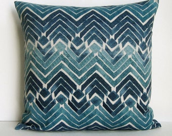 Teal Blue Pillow Cover Geometric Decorative Throw Accent Turquoise Navy Aqua Seafoam 16x16 18x18 20x20 22x22 12x16 12x18 12x20 14x22 Zipper