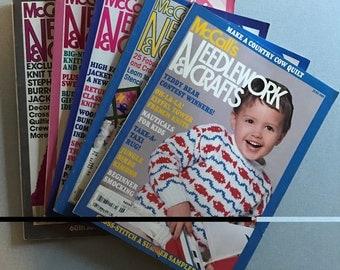 Lot of 5 Vintage McCall's Needlework & Crafts Magazines, 1980-1989