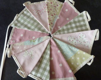 Pink Sage Vintage Patchwork Butterfly Bunting
