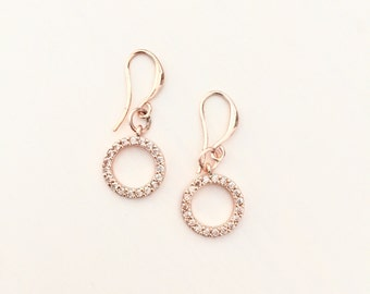 Pave 24K Rose Gold Plated O Earrings
