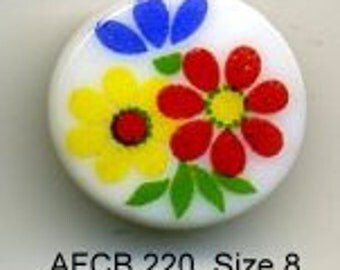 Vintage Czech glass button, white button with flowers - size 8, 18 mm  AFCB 220