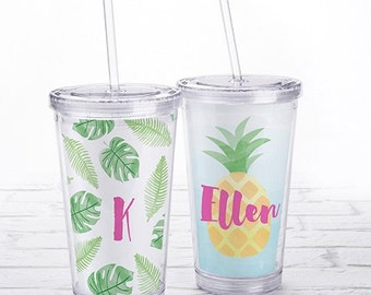 Personalized Acrylic Tumbler- 2 Styles Pineapples or Palms