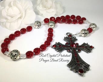 Anglican Prayer Beads, Protestant Prayer Beads, Christian Prayer Beads, Red Crystal Prayer Beads, Episcopal Rosary, Elegant Rosaries