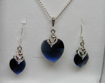 Swarovski Heart and CZ Earring and Necklace Set, Dark Indigo Blue Bridesmaid Heart Gift Set, Bridesmaid Gift, Something Blue- SHRS1