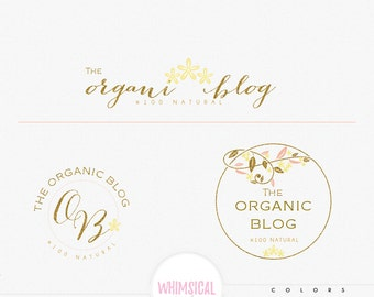 Whimsical leaves circle frame- Premade Photography Logo , Classic Elegant Script Font gold glitter dandelion organic Calligraphy Logo
