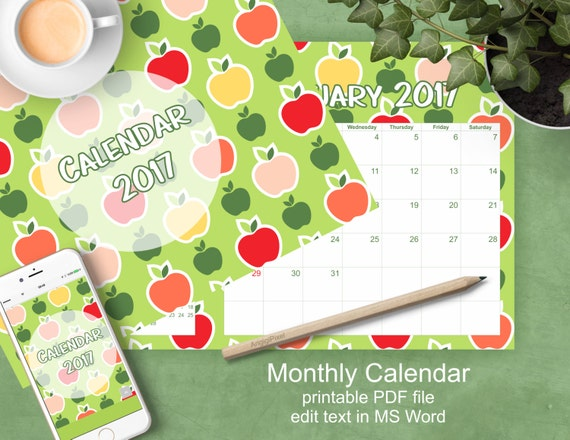 Monthly Calendar 2017, letter size planer, colorful apples pattern, New Year's gift, editable organizer download