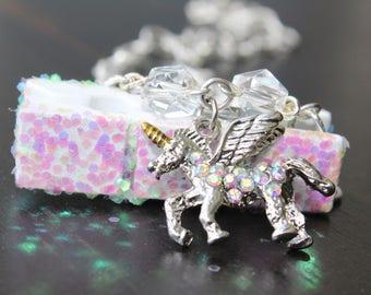 Silver unicorn charm necklace, Silver unicorn necklace, Unicorn charm necklace,  Unicorn pendant necklace, Silver chain unicorn necklace