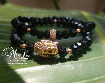 Rose Gold Cubic Zirconia Black Facet Bracelet Set