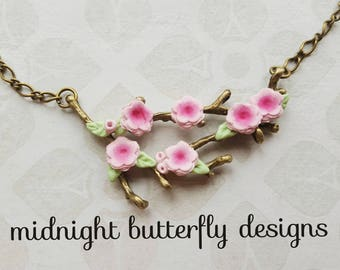 Cherry Blossom Necklace, Pick Blossom Branch Pendant, Antique Gold Pink Cherry