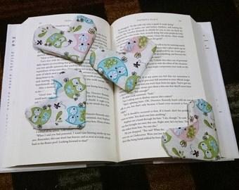 Owl bookmark. Cloth bookmark. Fabric bookmark. Corner bookmark. Teacher gift. Valentine gift. Stocking Stuffer. Readers gift. Book lover.