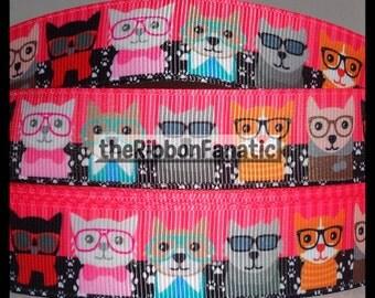 "5 yds 7/8"" Nerdy Cats in Glasses Grosgrain Ribbon"
