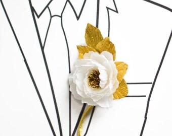 Wedding Boutonniere/Paper Flower Boutonniere/Gold and White Boutonniere/Groom's Boutonniere/ Wedding Boutonniere