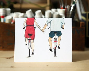 Bikes holding hands - Love card - couple holding hands - valentine card / LOV-BIKES