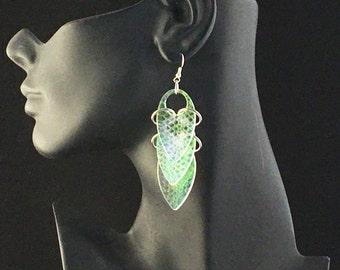 Scale Iridescent Earrings Radiant Jewelry Snakeskin Medium