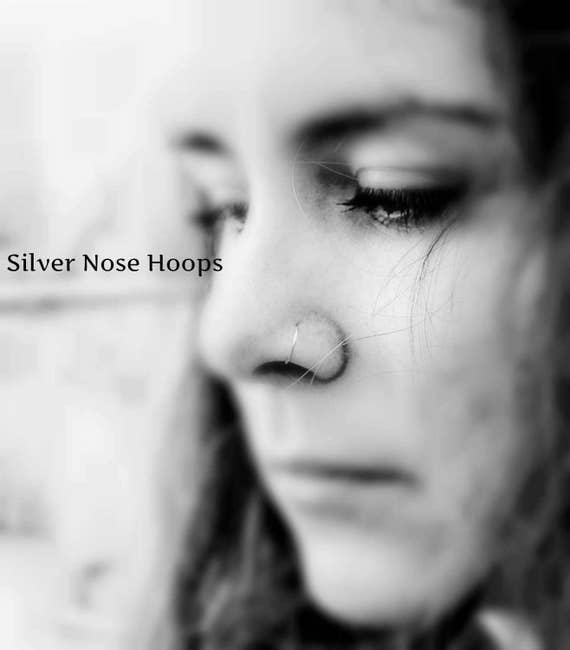 Double cartilage, Nose Hoop, Thin Nose Ring, Nose Rings, Silver Nose Rings, Small Nose Rings