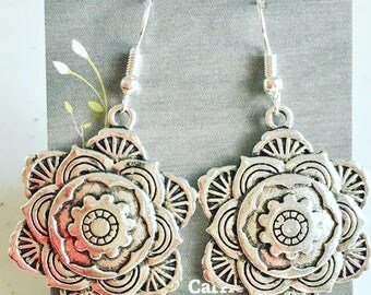 Large highly detailed Tibetan silver Mandala flower charms on nickel free ear wires. These are stunning!