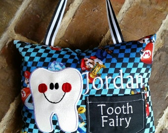 Boys Appliquéd Tooth Fairy Pillow with Embroidered Name and Ribbon Hanger (Can be made in other fabrics)