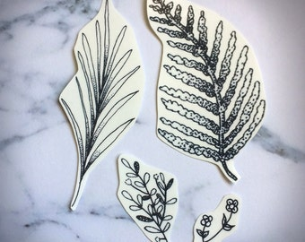 Botanical Temporary Tattoos Temp Plants Leaves Nature Fern Palm Sprig Twig Flowers Small Dainty Hipster Wrist Tiny Delicate Branch Black