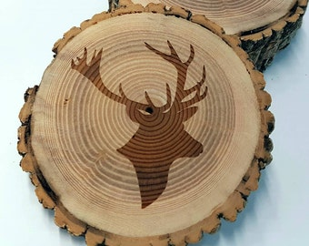 Deer Silhouette Coaster - Set of 4 - Natural Ash Wood with Bark