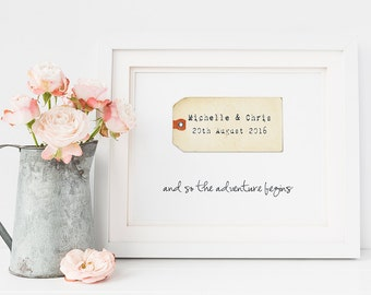 Wedding gift print - personalised wedding gift - luggage tag print - adventure quote print - wedding day - and so the adventure begins