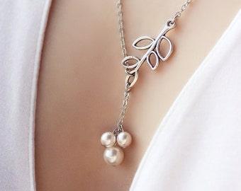 Lariat leaf Necklace, Silver Leaf Necklace, Pearl Berry Necklace, Beaded Leaf Charm Necklace, Lariat necklace,Silver Leaf Branch,Leaf branch