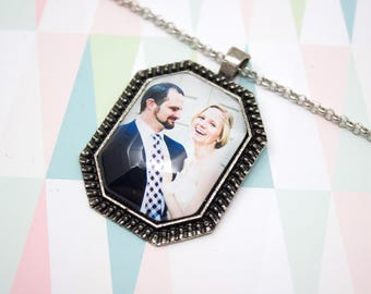 Octagon Photo Necklace - Vintage Photo Jewelry - Custom Photo Necklace - Personalized Photo Pendant - 22 x 30 mm Octagon