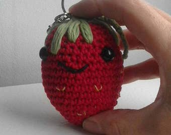 Crochet strawberry keyring